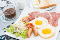 Set of american breakfast for morning Stock Images