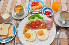 Set of american breakfast on table. Royalty Free Stock Photo