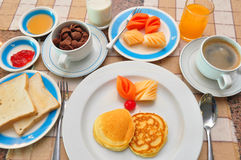 Set of american breakfast on table. Royalty Free Stock Images