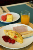 Set of american breakfast on table Stock Photo