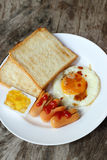 Set of american breakfast on wooden table Royalty Free Stock Photo