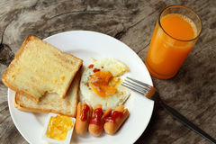 Set of american breakfast on wooden table Stock Photos