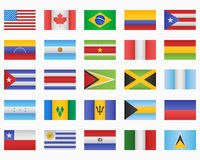 Set of American countries Flags Stock Images