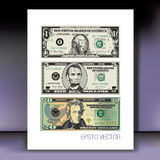 Set of American dollars. Illustrated set of American dollars with faces of George Washington, Andrew Jackson and Abraham Lincoln stock illustration