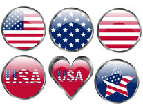 Set of American Flag Buttons Royalty Free Stock Image