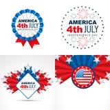Set of american flag design badge illustration Stock Photos