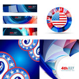 Set of american flag design illustration of 4th july. Vector set of american flag design illustration of 4th july independence day with banner, badge and royalty free illustration