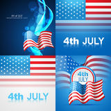 Set of american flag design illustration of 4th july. Vector set of american flag design illustration of 4th july independence day with wave effect Royalty Free Stock Image