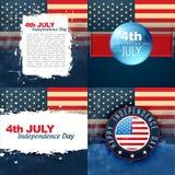 Set of american flag design illustration Royalty Free Stock Photo