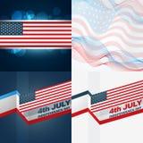 Set of american flag design illustration Stock Photos