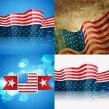 Set of american flag design illustration Royalty Free Stock Images