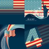 Set of american flag design illustration Royalty Free Stock Photos