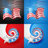 Set of american flag design illustration Stock Image