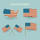 Set of american flag and map. Flat design Royalty Free Stock Photo