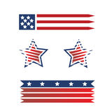 Set of American flags Stock Photos