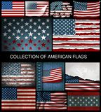 Set of American flags of developing and vintage Royalty Free Stock Photo