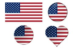 Set of American flags in different shapes with frame. USA, United States of America Vector illustration symbols isolated on white background for national royalty free illustration