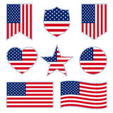 Set of American flags Stock Photography