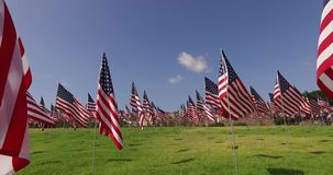 Set of American flags fluttering in the wind on the Memorial Day. Los Angeles, California, USA