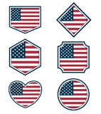 Set of American flags and hearts3 Royalty Free Stock Images