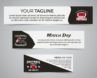 Set of American football banner template with soccer logo, label and badge. Stylish bright identity design. Best for Royalty Free Stock Images
