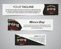 Set of American football banner template with soccer logo, label and badge. Stylish bright identity design. Best for Royalty Free Stock Photography