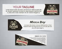 Set of American football banner template with soccer logo, label and badge. Stylish bright identity design. Best for Stock Photo