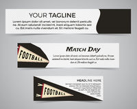 Set of American football banner template with soccer logo, label and badge. Stylish bright identity design. Best for Stock Photos