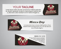 Set of American football banner template with soccer logo, label and badge. Stylish bright identity design. Best for Royalty Free Stock Photos