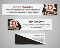 Set of American football banner template with soccer logo, label and badge. Stylish bright identity design. Best for Royalty Free Stock Photo