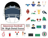 Set of 24 American football Icons Royalty Free Stock Image