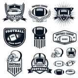 Set of the american football labels, emblems and design elements. Football icons. Football league. American football championship. Vector design elements Royalty Free Stock Photography