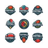 Set of american football logos. sport emblems, badges. vector illustration. Set of american football logos. sport emblems, badges, design elements, logotype Royalty Free Stock Images