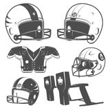 Set of American football monochrome style for emblems ,logo and labels. Royalty Free Stock Photos