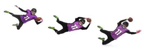 Set of American football player in uniform catching ball stock photos