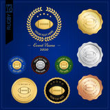 Set of American football or rugby badge label or emblem Stock Images