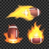 Set of american football or rugby balls flaming on a transparent background. Stock Image
