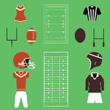 Set of American Football And Rugby Icons and Vectors Royalty Free Stock Image