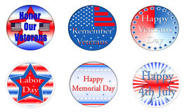Set of American Holiday Buttons. Set of six American Holiday Buttons.  Veterans Day, Labor Day, Memorial Day, and 4th of July buttons.  Transparent PNG file is Stock Images