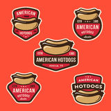 Set of American Hotdog Badges Stock Photography
