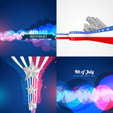 Set of american independence day background illustration. Vector set of american independence day background illustration with bokeh effect and wave style vector illustration