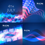 Set of american independence day background illustration. Vector collection 4th of july american independence day background with wave stock illustration