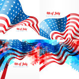 Set of american independence day background illustration. Vector set of american independence day background with american flag with creative style Royalty Free Stock Photography
