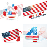 Set of american independence day background illustration. Vector set os american independence day flag design with balloon,wave and music note illustration Royalty Free Stock Photo