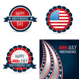 Set of american independence day background illustration. Vector set of american independence day background of 4th july illustration Stock Image