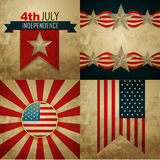 Set of american independence day background illustration. Vector set of american independence day background illustration in vintage style Stock Images
