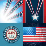 Set of american independence day background. Vector set of american independence day flag design illustration Royalty Free Stock Image