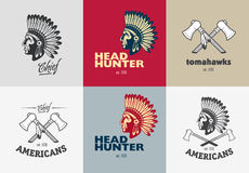 Set of american indian badges vector illustration