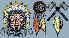 Set of American Indian elements Royalty Free Stock Photography