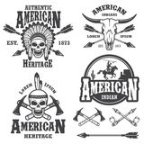 Set of american indian emblems. Labels, badges, logos and designed elements. Monochrome style Stock Photography